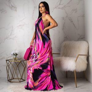 Backless Stretch Halter Floral Maxi Dress Plus